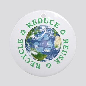 Reduce Reuse Recycle [globe] Ornament (Round)